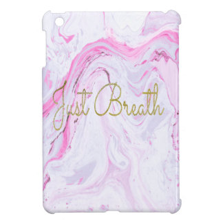 Pink Marble Just breathe design iPad Mini Cover