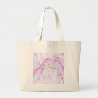 Pink Marble Just breathe design Large Tote Bag