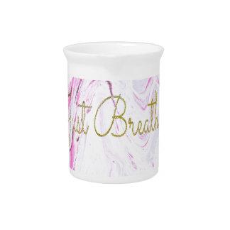 Pink Marble Just breathe design Pitcher