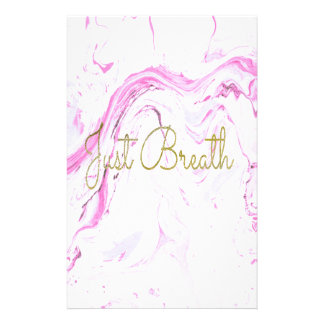 Pink Marble Just breathe design Stationery