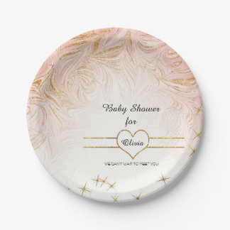 Pink Marble Marbling Girl Baby Shower Rose Gold Paper Plate