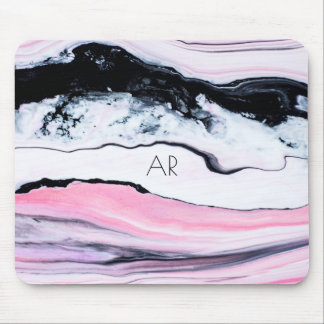 Pink Marble Monogram Mouse Pad