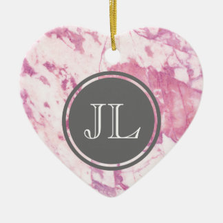 Pink Marble Monogram With Gray Circle Motif Ceramic Heart Ornament