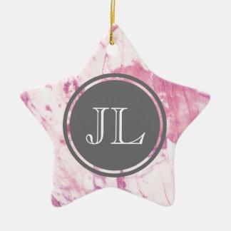 Pink Marble Monogram With Gray Circle Motif Ceramic Star Ornament