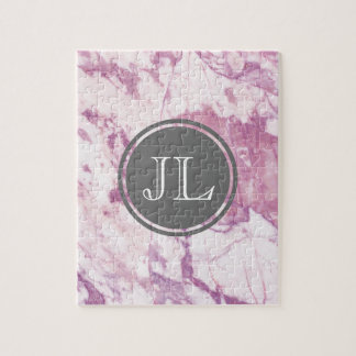 Pink Marble Monogram With Gray Circle Motif Jigsaw Puzzle