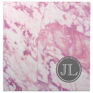 Pink Marble Monogram With Gray Circle Motif Napkin