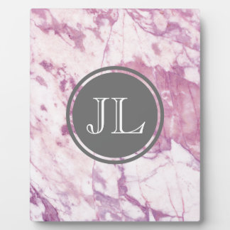 Pink Marble Monogram With Gray Circle Motif Plaque