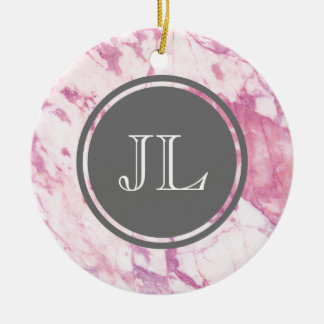 Pink Marble Monogram With Gray Circle Motif Round Ceramic Ornament