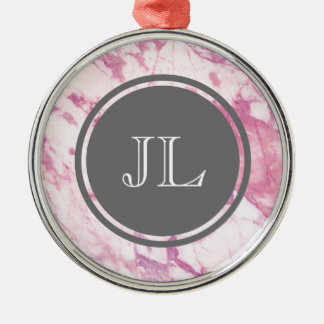 Pink Marble Monogram With Gray Circle Motif Silver-Colored Round Ornament