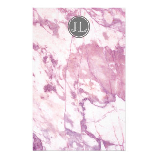 Pink Marble Monogram With Gray Circle Motif Stationery
