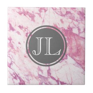 Pink Marble Monogram With Gray Circle Motif Tile