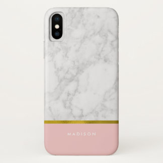 Pink Marble Pattern and Faux Gold Foil Case-Mate iPhone Case