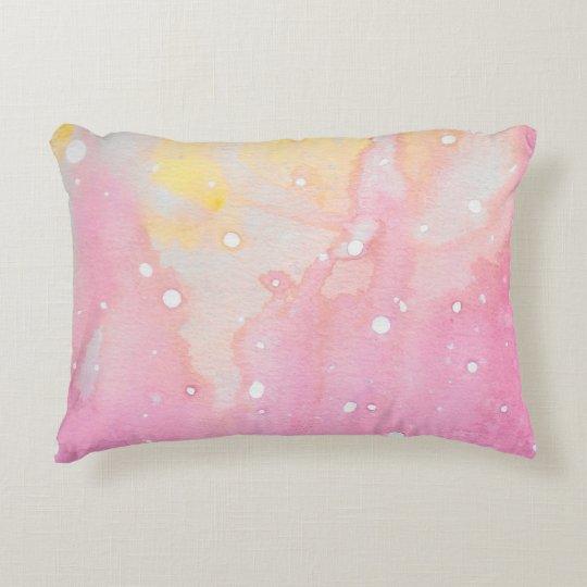 Pink Marble Watercolour Splat Decorative Pillow