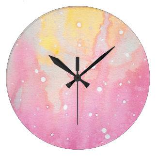 Pink Marble Watercolour Splat Large Clock