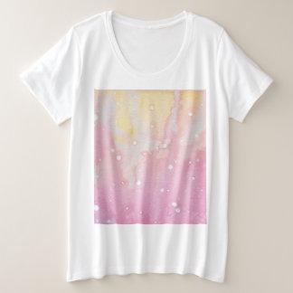 Pink Marble Watercolour Splat Plus Size T-Shirt