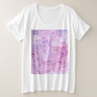 Pink Marble Watercolour Splat Plus Size T-Shirt