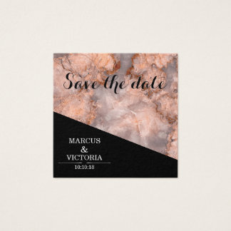 Pink marble wedding save the date square business card