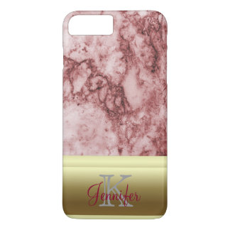 Pink Marble with golden stripes iPhone 7 Plus Case