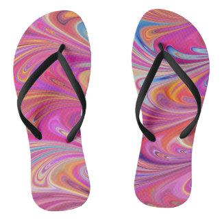 Pink Marbled Flip Flops