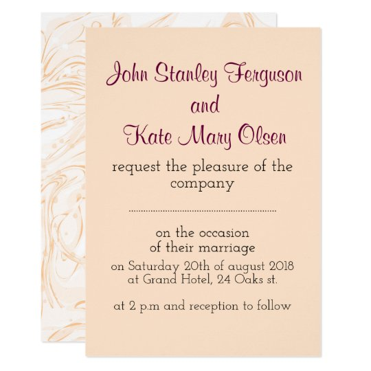 Pink marbled texture trendy wedding invitation
