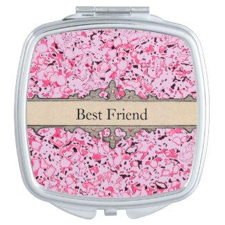 Pink-Marbleized-Best-Friend-Monogram-Compact's Vanity Mirror
