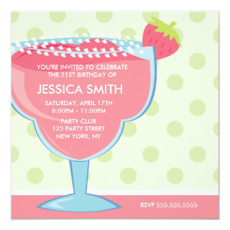 Pink Margarita Cocktail Party Card