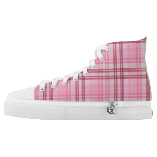 Pink/Maroon/Beige Plaid High Top Sneakers