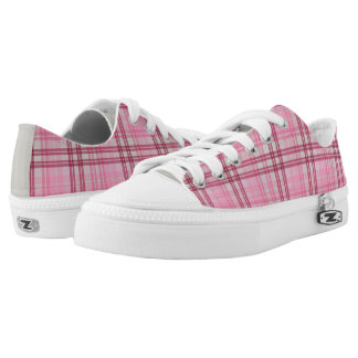 Pink/Maroon/Beige Plaid Low Top Sneakers