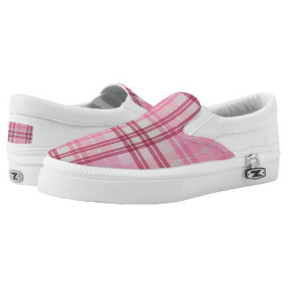 Pink/Maroon/Beige Plaid Slip On Sneakers