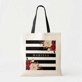 Pink Marsala Floral Watercolor Black White Stripe Tote Bag