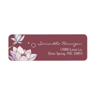 Pink Marsala Zen Lotus Business Return Address Label