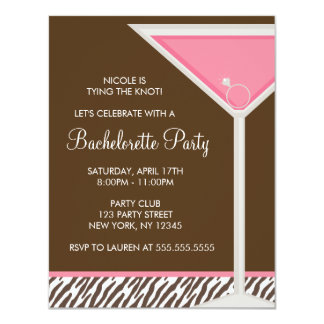 "Pink Martini and Brown Zebra Pattern 4.25"" X 5.5"" Invitation Card"