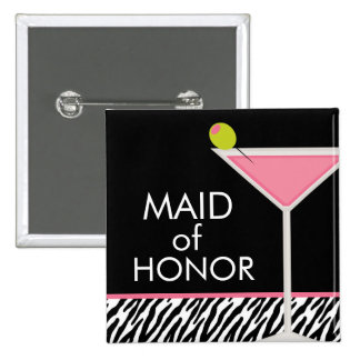 Pink Martini and Zebra Pattern 2 Inch Square Button