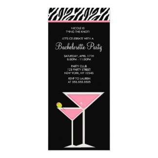 "Pink Martini and Zebra Pattern 4"" X 9.25"" Invitation Card"