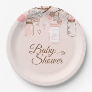 Pink mason jar floral baby girl shower paper plate 9 inch paper plate