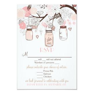 Pink Mason Jars and Love Birds RSVP Wedding Card
