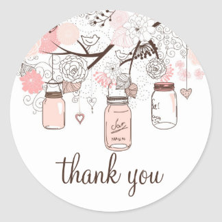 Pink Mason Jars and Love Birds Thank You Sticker