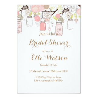 Pink Mason Jars Bridal Shower Invitation