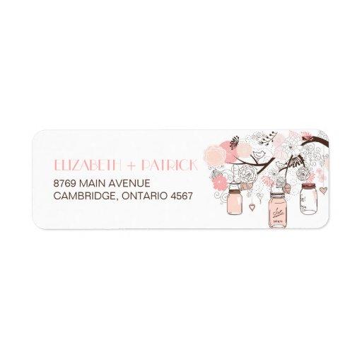 Pink Mason Jars & Love Birds Wedding Address Label