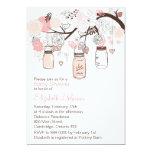 Pink Mason Jars & Lovebirds Baby Shower Invitation