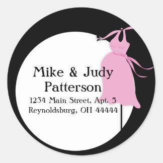 Pink Maternity Dress Round Return Address Label