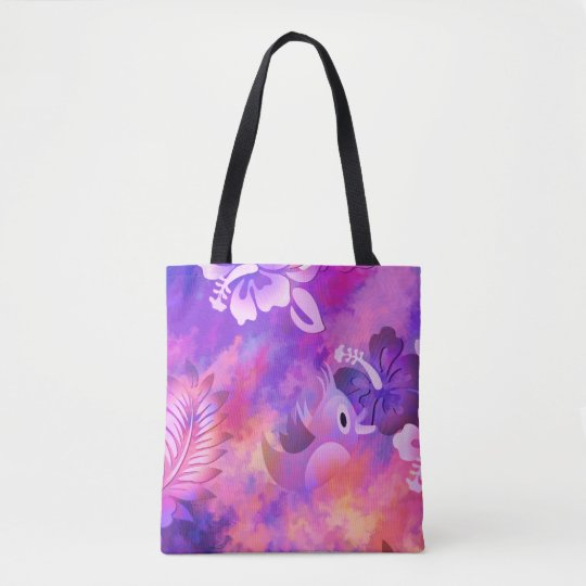 Pink Mauve Bird Flowers Abstract Art Tote Bag
