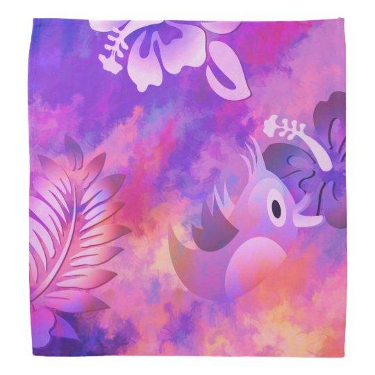 Pink Mauve Flowers Bird Abstract Fashion Bandana