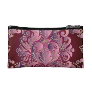 Pink Mauve Reversible Damask Cosmetic Bag