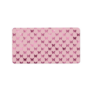 Pink Mauve Rose Butterfly Metallic Faux Foil