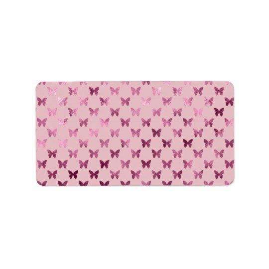 Pink Mauve Rose Butterfly Metallic Faux Foil Label