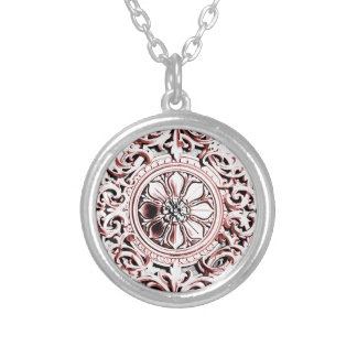 Pink Medallion Silver Plated Necklace