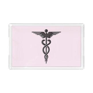 Pink Medical Caduceus Acrylic Tray
