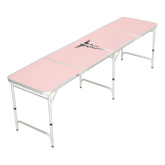 Pink Medical Caduceus Beer Pong Table