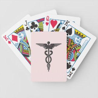 Pink Medical Caduceus Bicycle Playing Cards